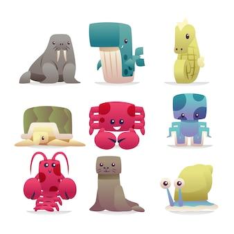 Coleção de desenhos animados de animais do mar