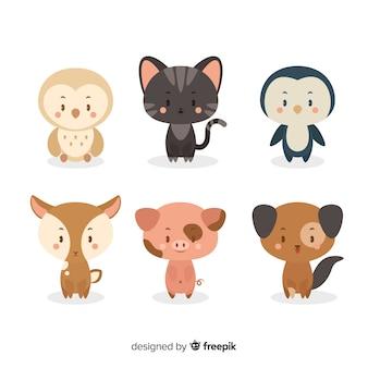 Coleção de desenhos animados de animais domésticos