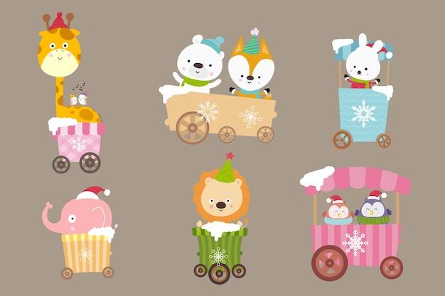Coleção de desenhos animados de animais no carrinho
