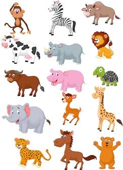 Coleção de desenhos animados de animais selvagens
