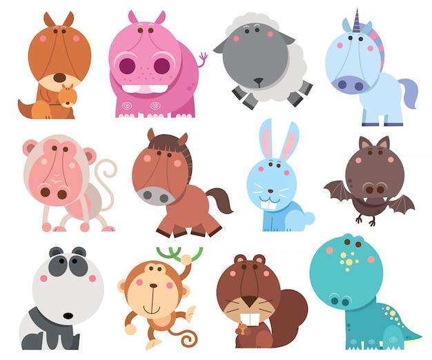Coleção de desenhos animados de animais