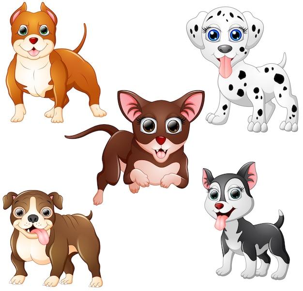 Coleção de desenhos animados de cachorro