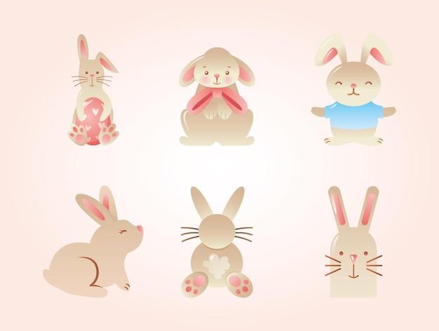 Coleção de desenhos animados de coelhos