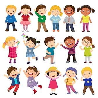 Coleção de desenhos animados de crianças felizes. crianças multiculturais em diferentes posições isoladas