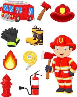 Coleção de desenhos animados de equipamentos de fogo