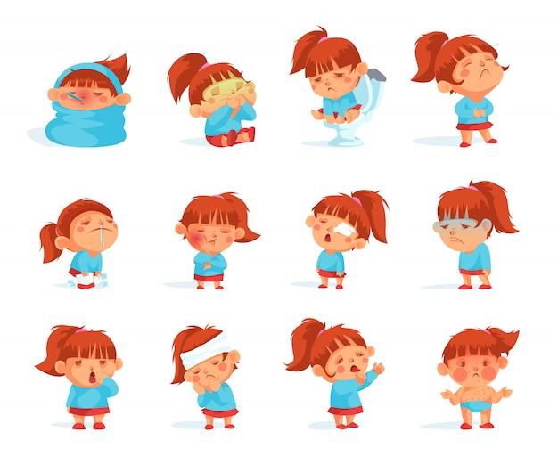 Coleção de desenhos animados de estatuetas de criança doente