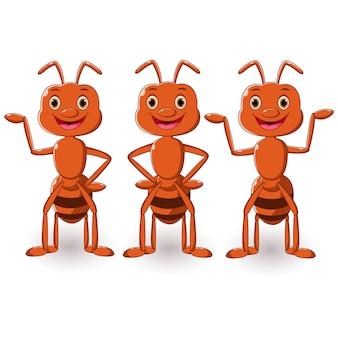 Coleção de desenhos animados de formiga posando