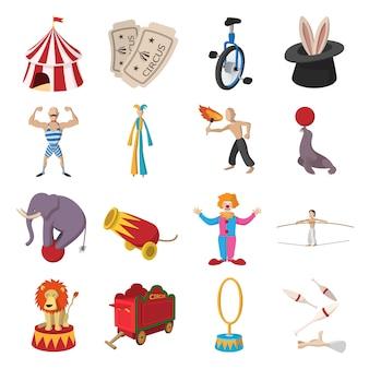 Coleção de desenhos animados de ícones de show de circo
