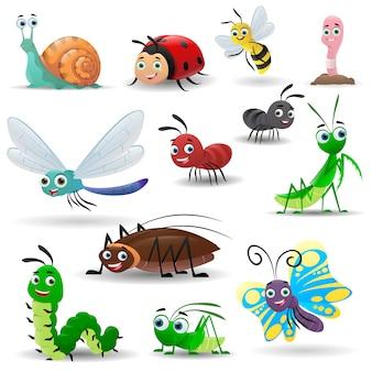 Coleção de desenhos animados de insetos fofos