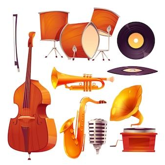 Coleção de desenhos animados de jazz