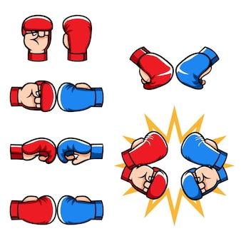 Coleção de desenhos animados de luvas de meio dedo de artes marciais