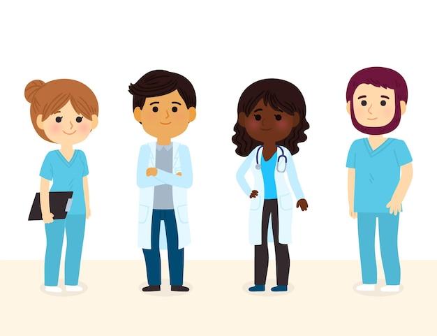 Coleção de desenhos animados de médicos e enfermeiras