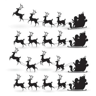 Coleção de desenhos animados de natal papai noel passeios de trenó de renas no natal