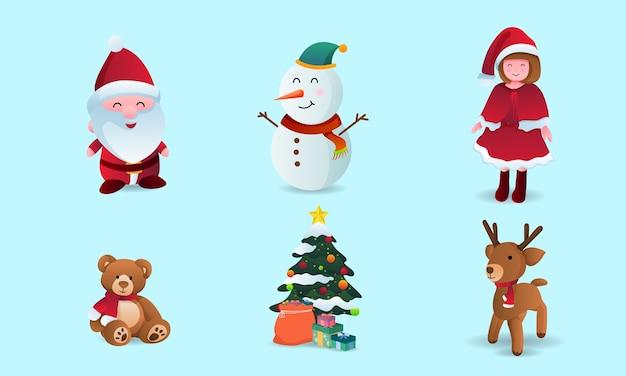Coleção de desenhos animados de natal