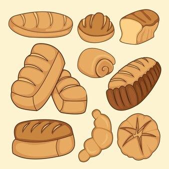 Coleção de desenhos animados de pão. produtos de pão integral, pão integral fatiado