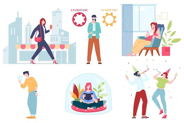 Coleção de desenhos animados de pessoas extrovertidas e introvertidas