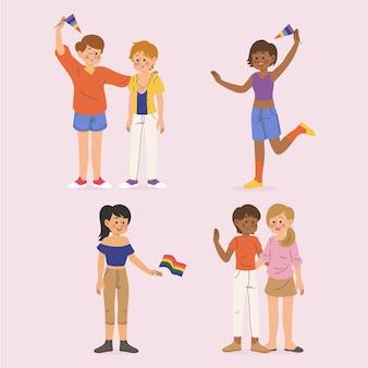 Coleção de desenhos animados de pessoas trans