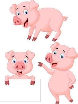 Coleção de desenhos animados de porco