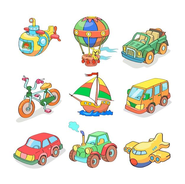 Coleção de desenhos animados de transporte - colorido