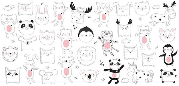 Coleção de desenhos animados de vetor de adesivos com animais fofos doodle e frase de letras de motivação