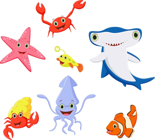 Coleção de desenhos animados de vida mar engraçado