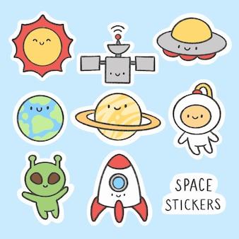 Coleção de desenhos animados do espaço adesivo mão desenhada