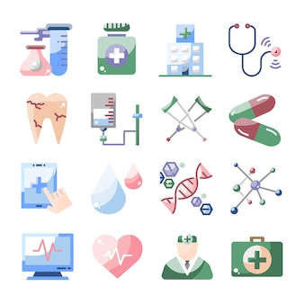 Coleção de desenhos animados do medical healthcare design plano