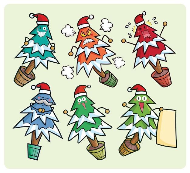 Coleção de desenhos animados engraçados da árvore de natal