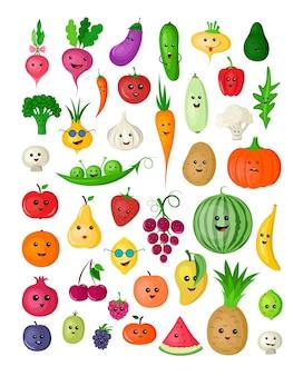 Coleção de desenhos animados engraçados, frutas, bagas e vegetais coloridos