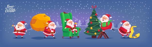 Coleção de desenhos animados ícones de papai noel. ilustração de natal.