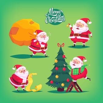 Coleção de desenhos animados ícones de papai noel. ilustração natal