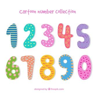 Coleção de desenhos animados número com estilo colorido