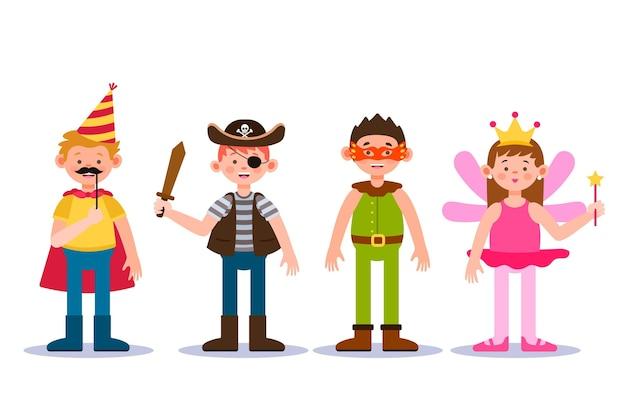 Coleção de desenhos animados para crianças de carnaval