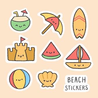 Coleção de desenhos animados praia adesivo mão desenhada