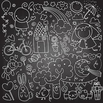 Coleção de desenhos de crianças fofos de crianças