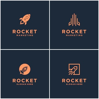 Coleção de desenhos de logotipo de monograma de foguete. resumo de lançamento de foguete espacial isolado