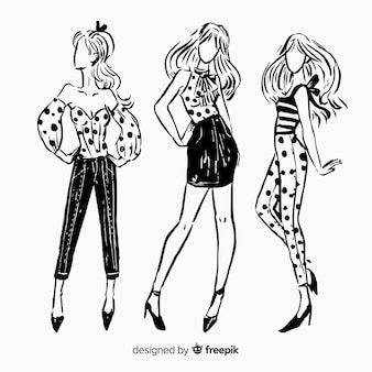 Coleção de desenhos de moda com modelos