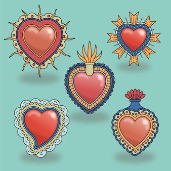 Coleção de desenhos diferentes de corações sagrados