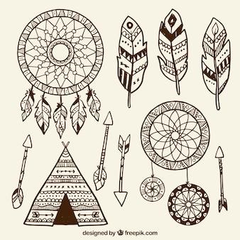 Coleção de desenhos étnicos