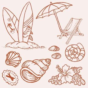 Coleção de desenhos feitos à mão no verão à beira-mar