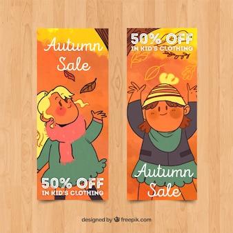 Coleção de design de aquarela de banner de vendas outono