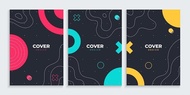 Coleção de design de capa de memphis com desenho de linhas à mão livre