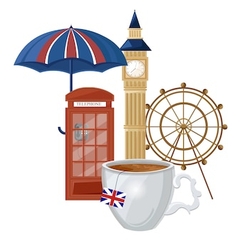 Coleção de design de chá inglês