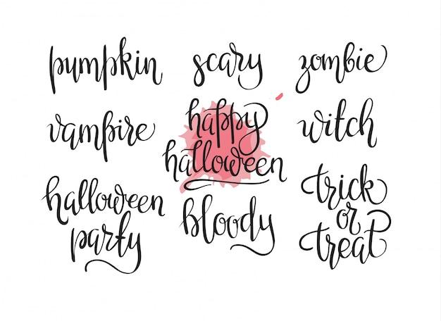 Coleção de design de dia das bruxas feliz - um conjunto de desenhos de dia de halloween de estilo vintage