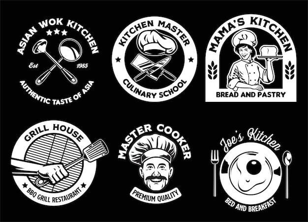 Coleção de design de distintivo de culinária