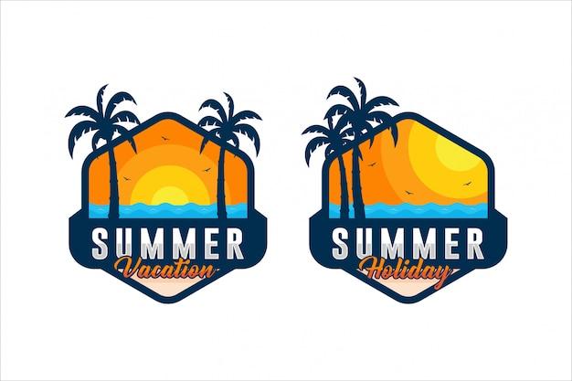 Coleção de design de distintivo de férias de verão
