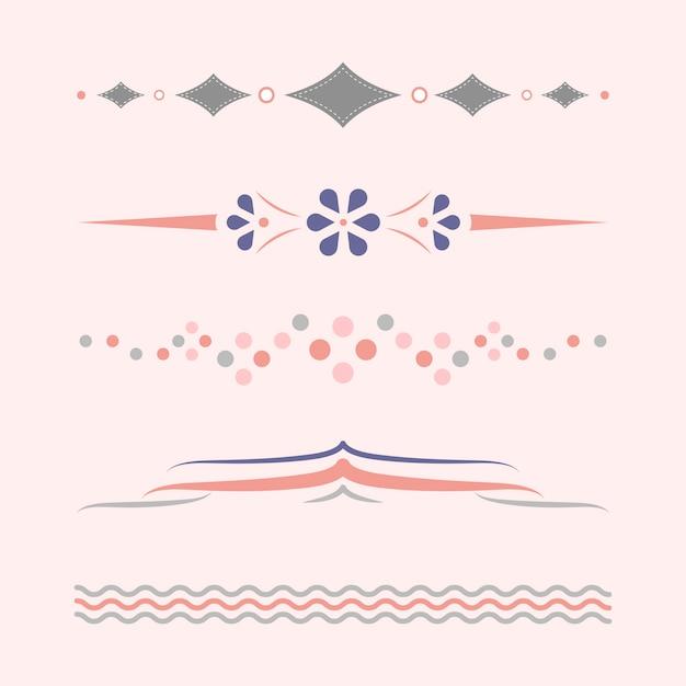 Coleção de design de divisores pastel