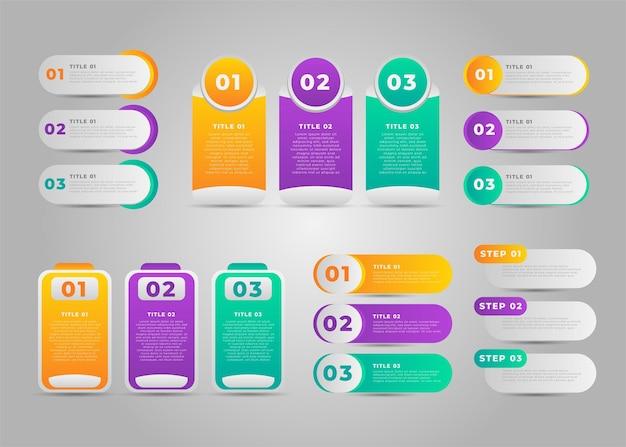 Coleção de design de elemento infográfico para negócios