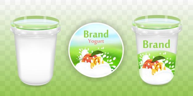 Coleção de design de embalagem de iogurte de pêssego