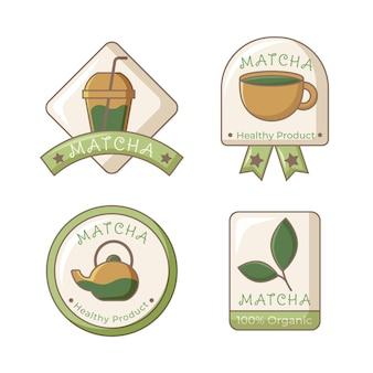 Coleção de design de emblemas de chá matcha